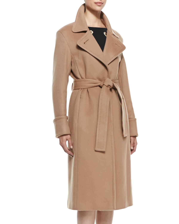 Escada Cashmere Tie Waist Trench Coat In Brown Lyst