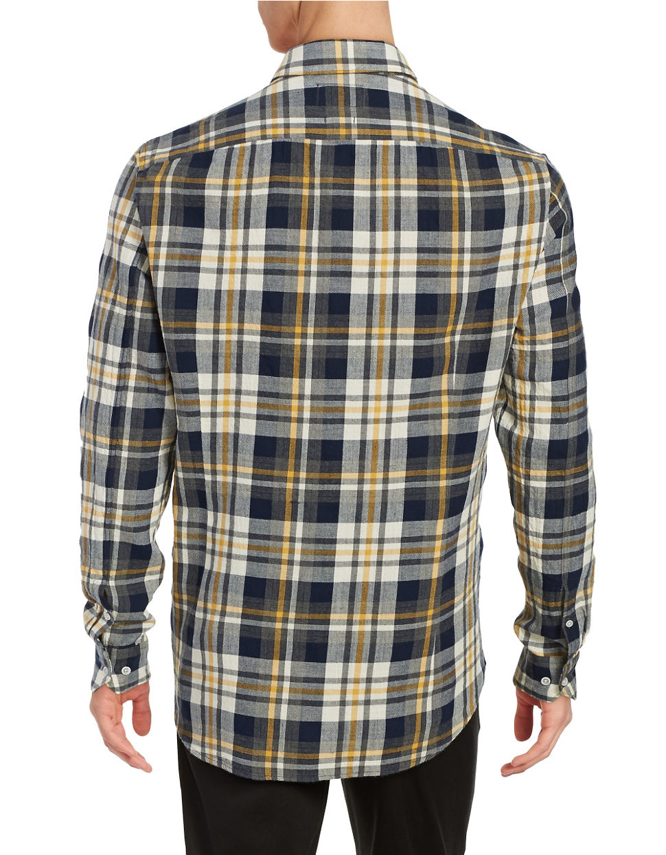Barbour harrison shirt in blue for men lyst for Blue and yellow plaid dress shirt
