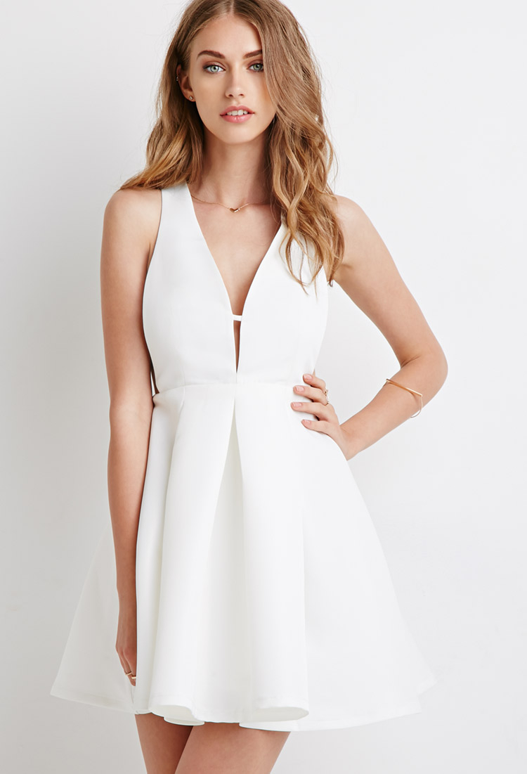 Lyst - Forever 21 Deep V-neck Pleated Dress in Natural