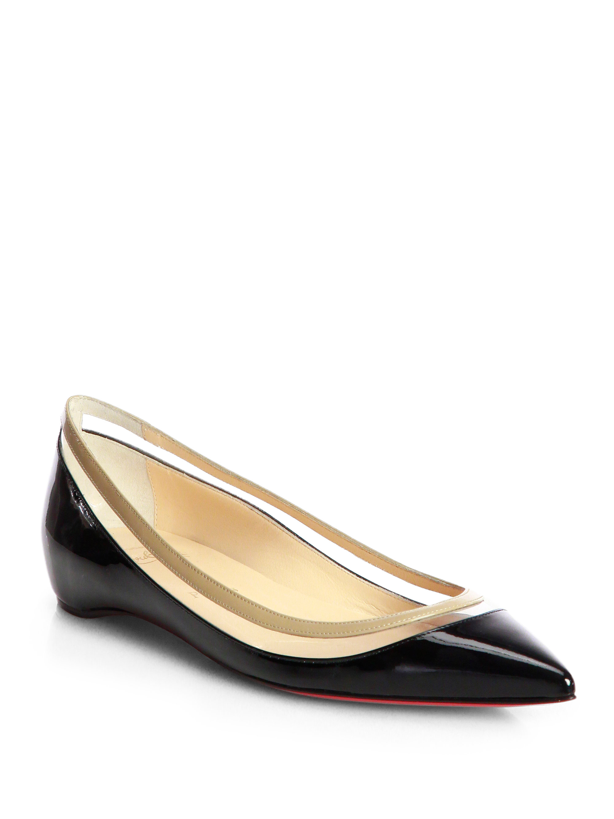 christian louboutin pointed-toe flats Black patent leather covered ...
