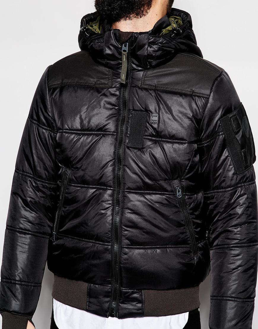 luxuriant in design superior materials how to purchase G-Star RAW Black Quilted Hooded Jacket Whistler Bomber Myrow Nylon for men