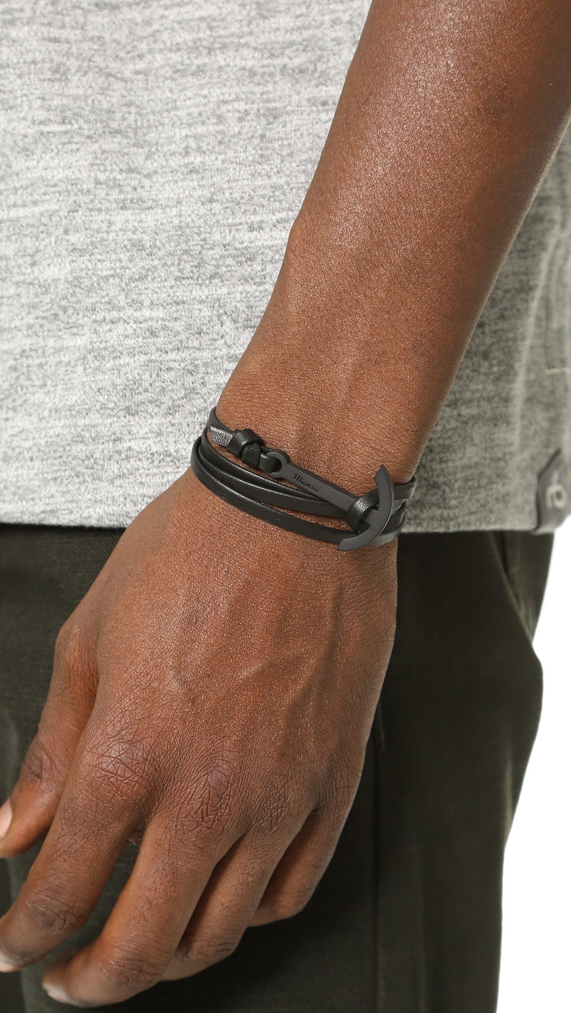 Miansai Silver Modern Anchor On Leather in Tan V0exgzcvF