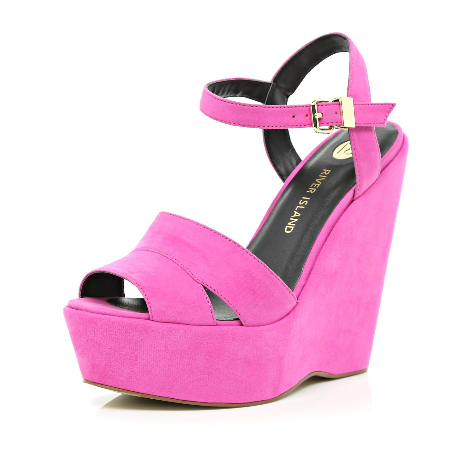 river island bright pink wedge sandals in pink lyst