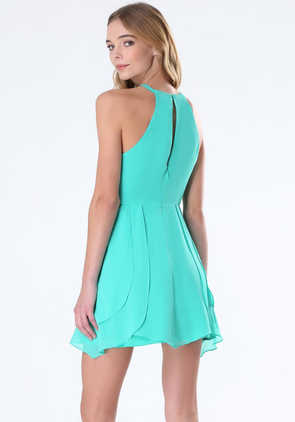 Lyst - Bebe Tulip Skirt Keyhole Dress in Blue