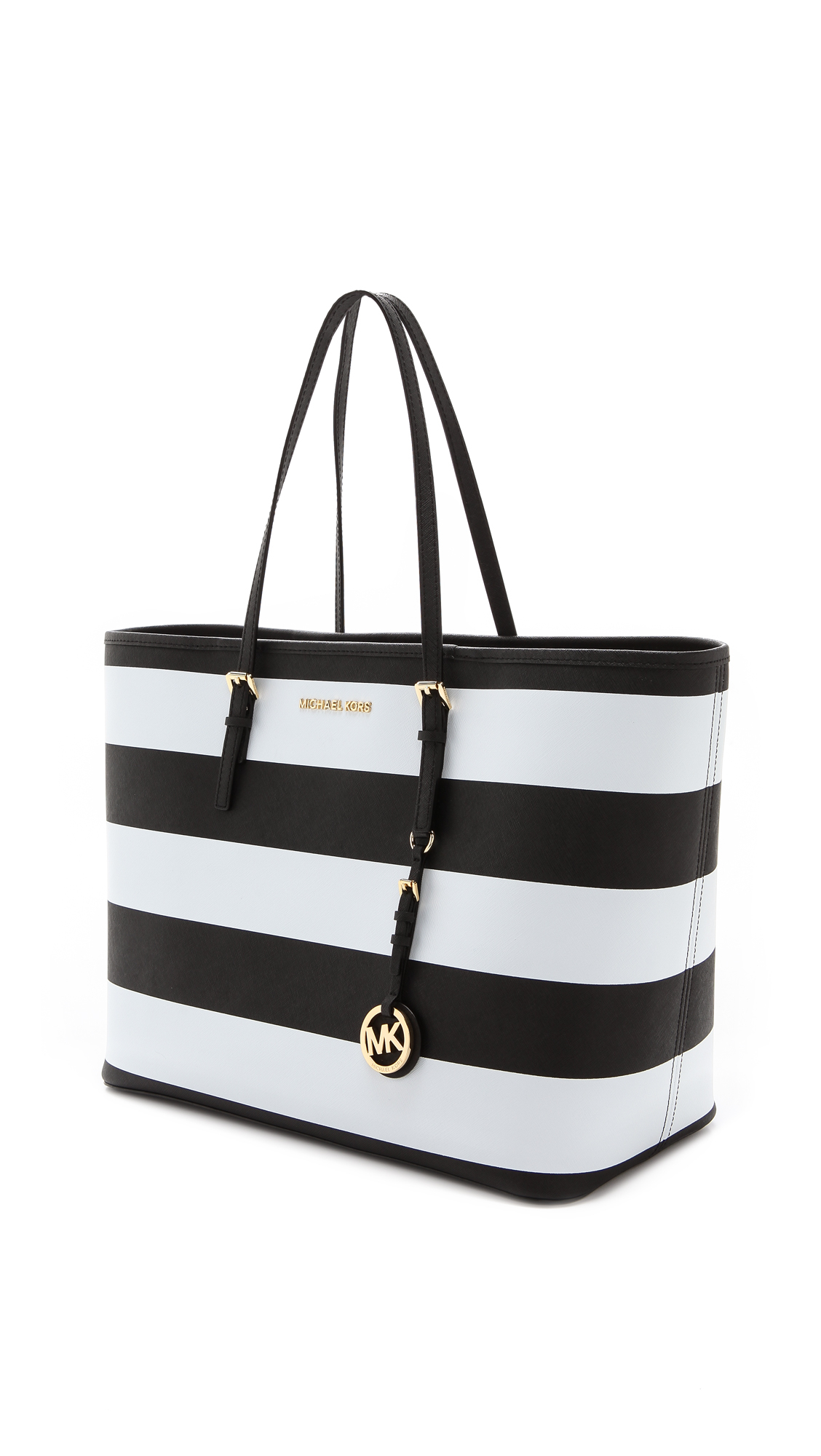 michael michael kors jet set travel stripe medium tote in black lyst. Black Bedroom Furniture Sets. Home Design Ideas