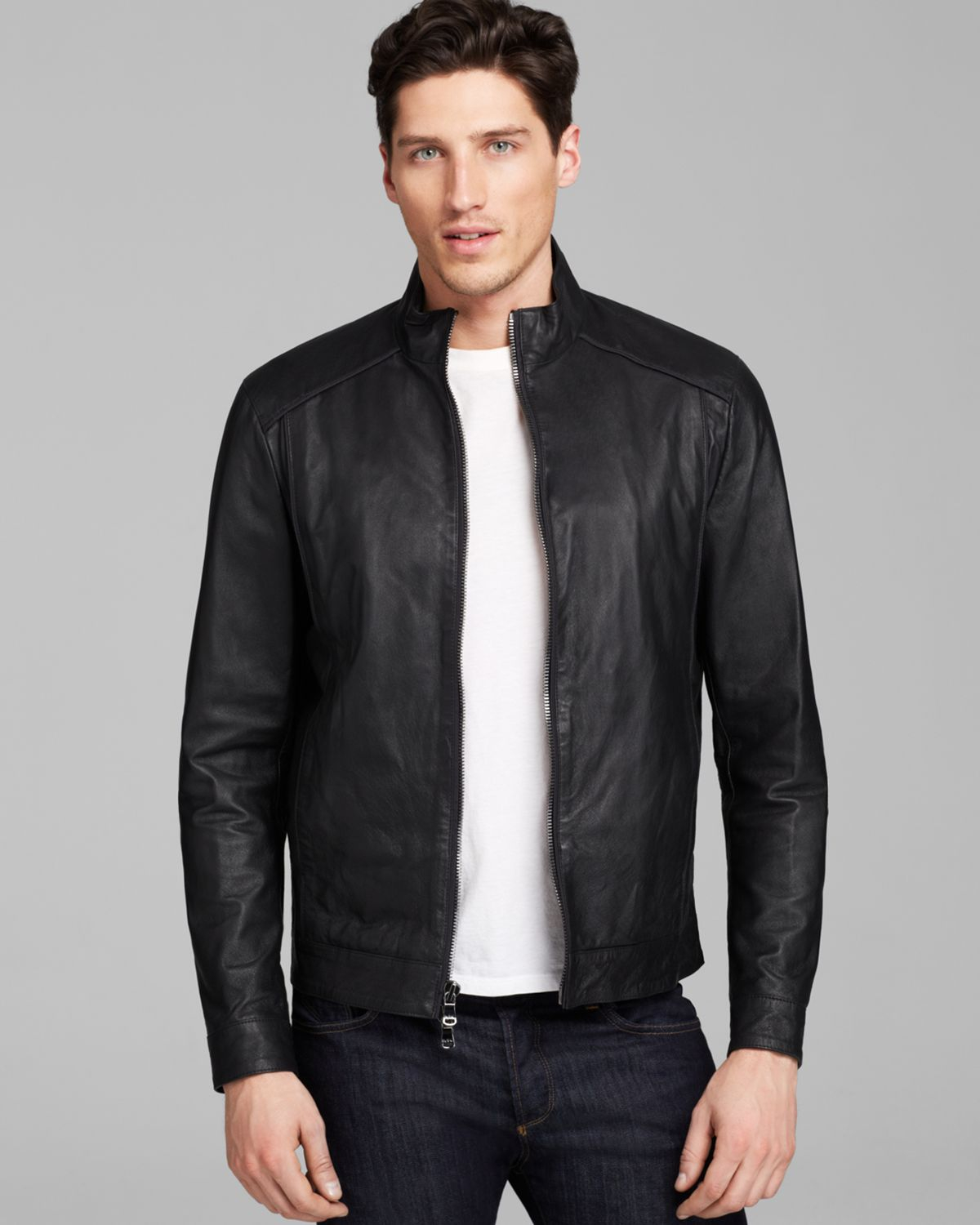Michael Kors Piped Leather Jacket In Black For Men