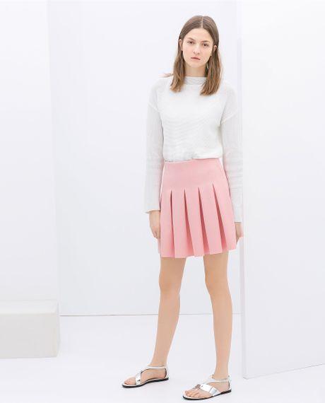 zara pleated skirt in pink lyst