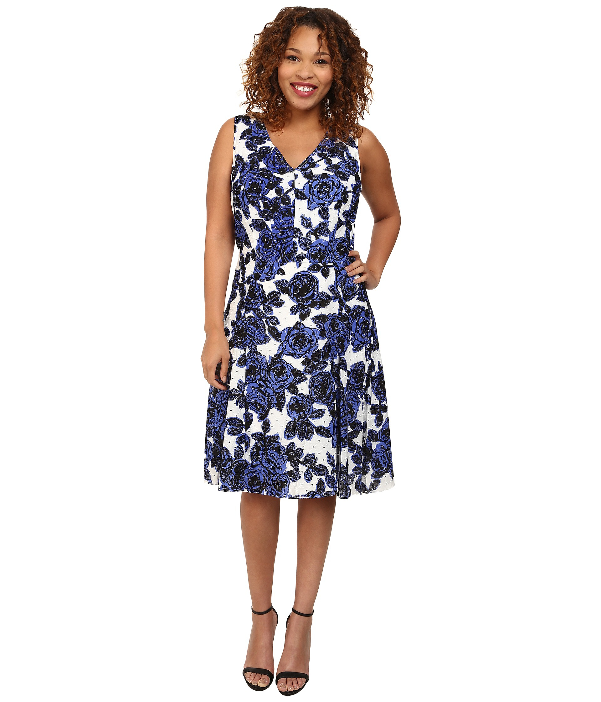 Adrianna papell Plus Size Back Interest Fit & Flare Dress in Blue ...