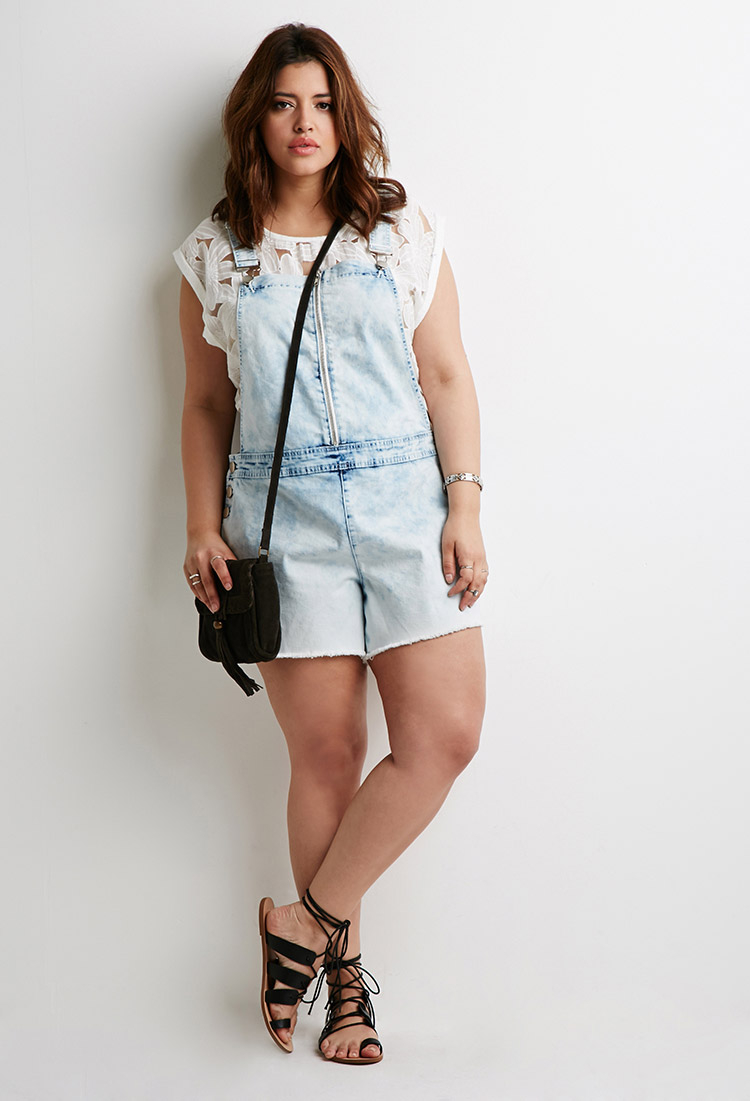 Forever 21 Plus Size Cloud Wash Overall Shorts in Blue | Lyst