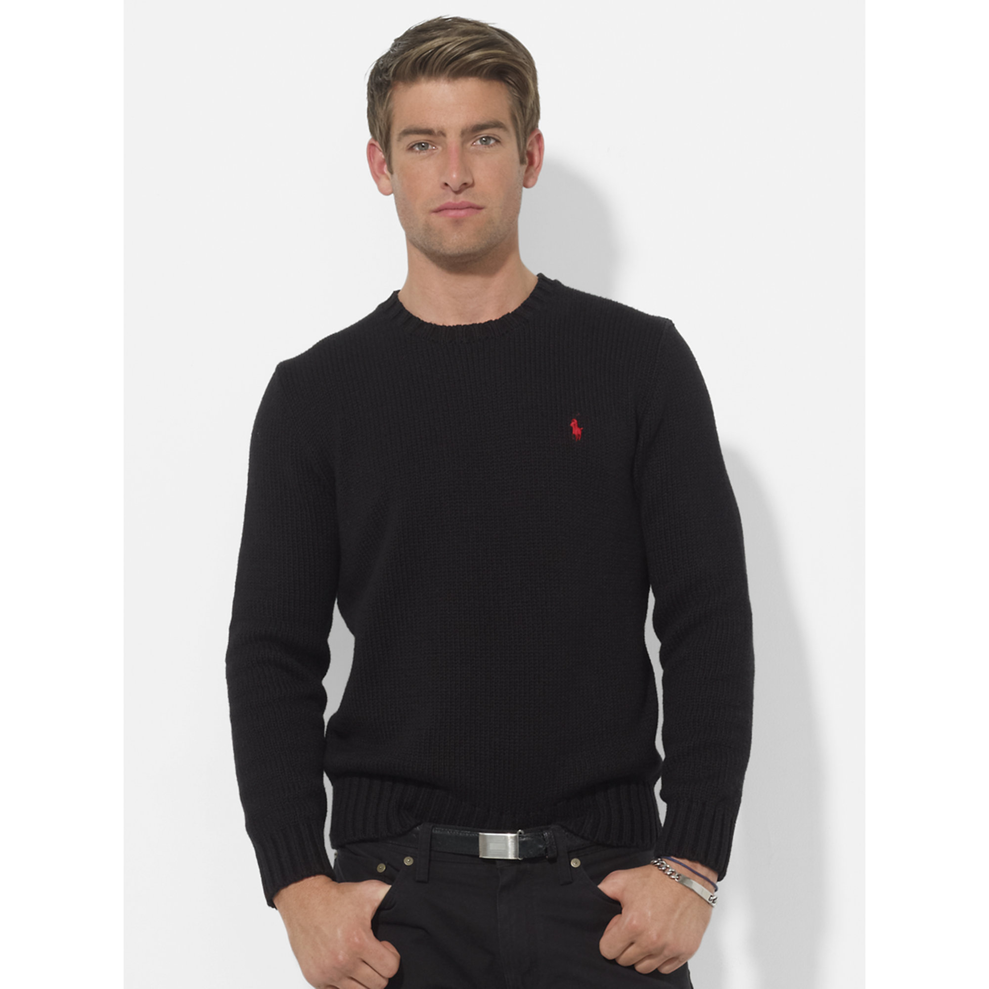 d3bc1fc3852 Lyst - Polo Ralph Lauren Cotton Crewneck Sweater in Black for Men