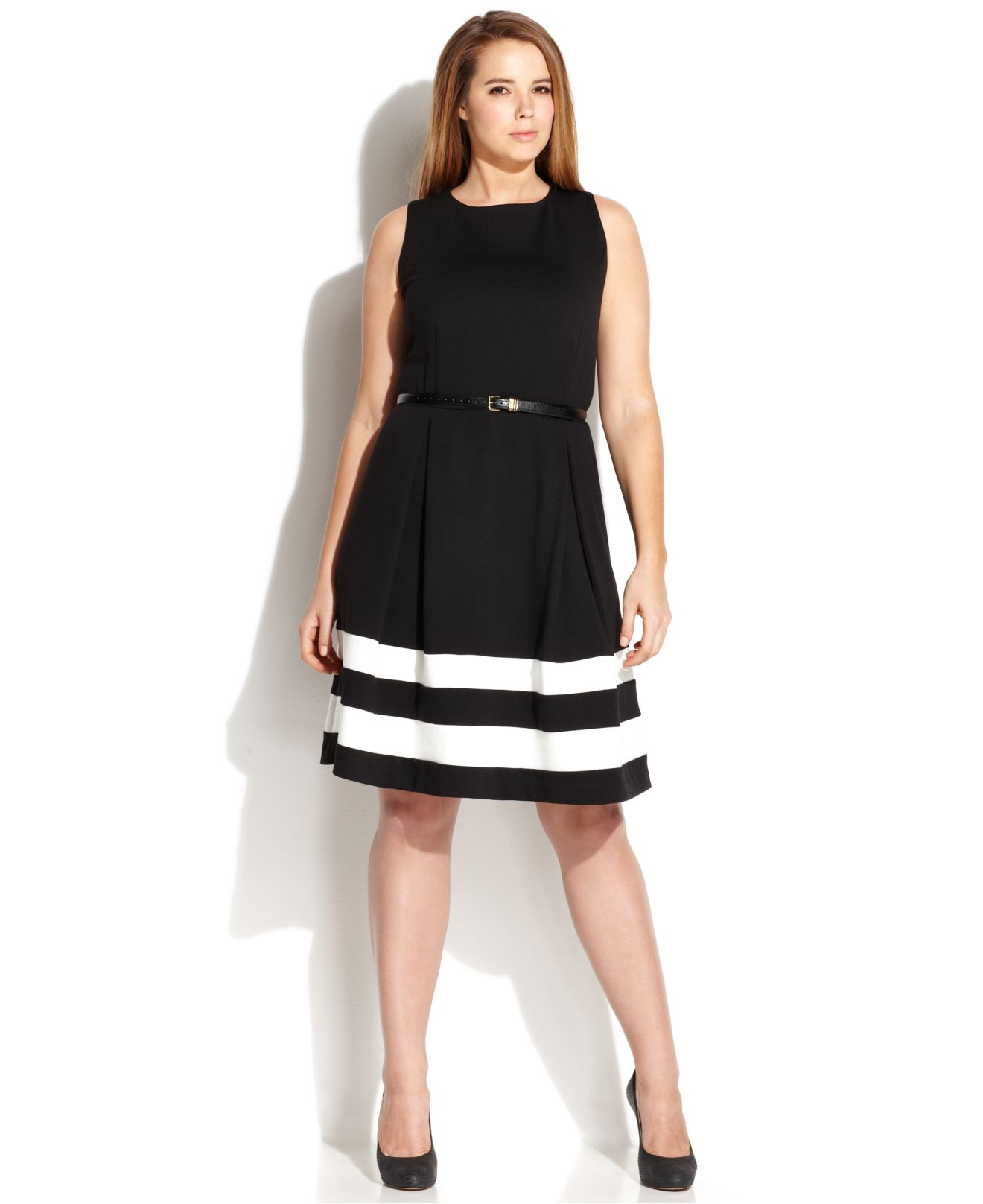 Lyst - Calvin Klein Plus Size Striped-hem Belted Dress in Black