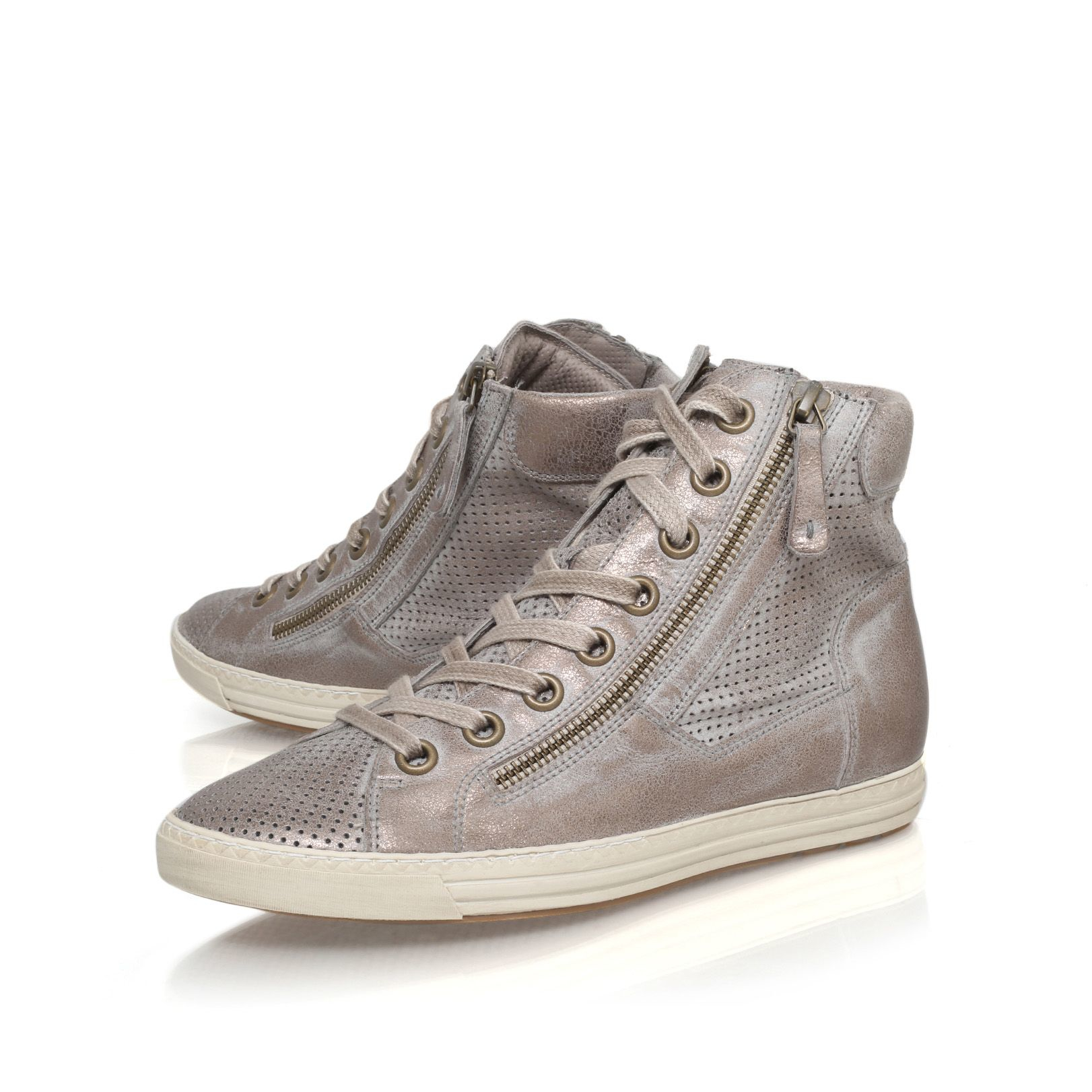 paul green beth flat lace up hi top trainers in metallic lyst. Black Bedroom Furniture Sets. Home Design Ideas