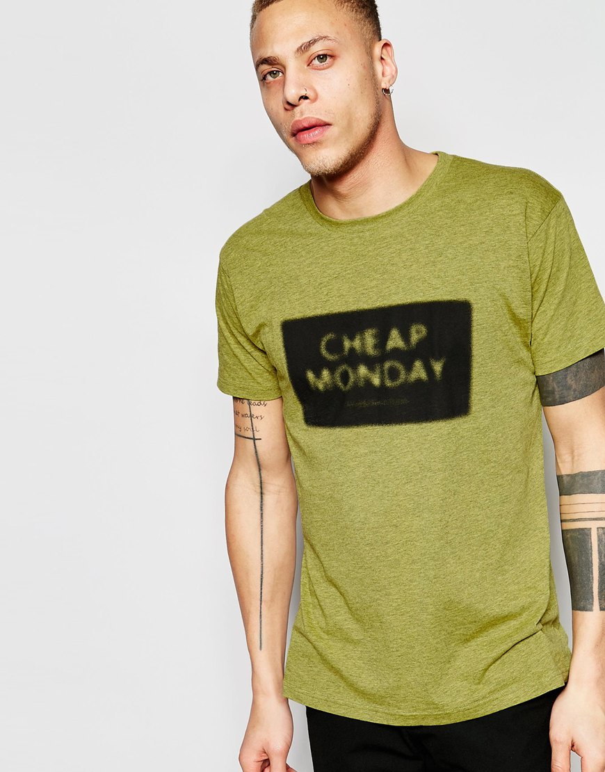 Cheap monday t shirt standard nuclear box logo print in for Cheap t shirt print