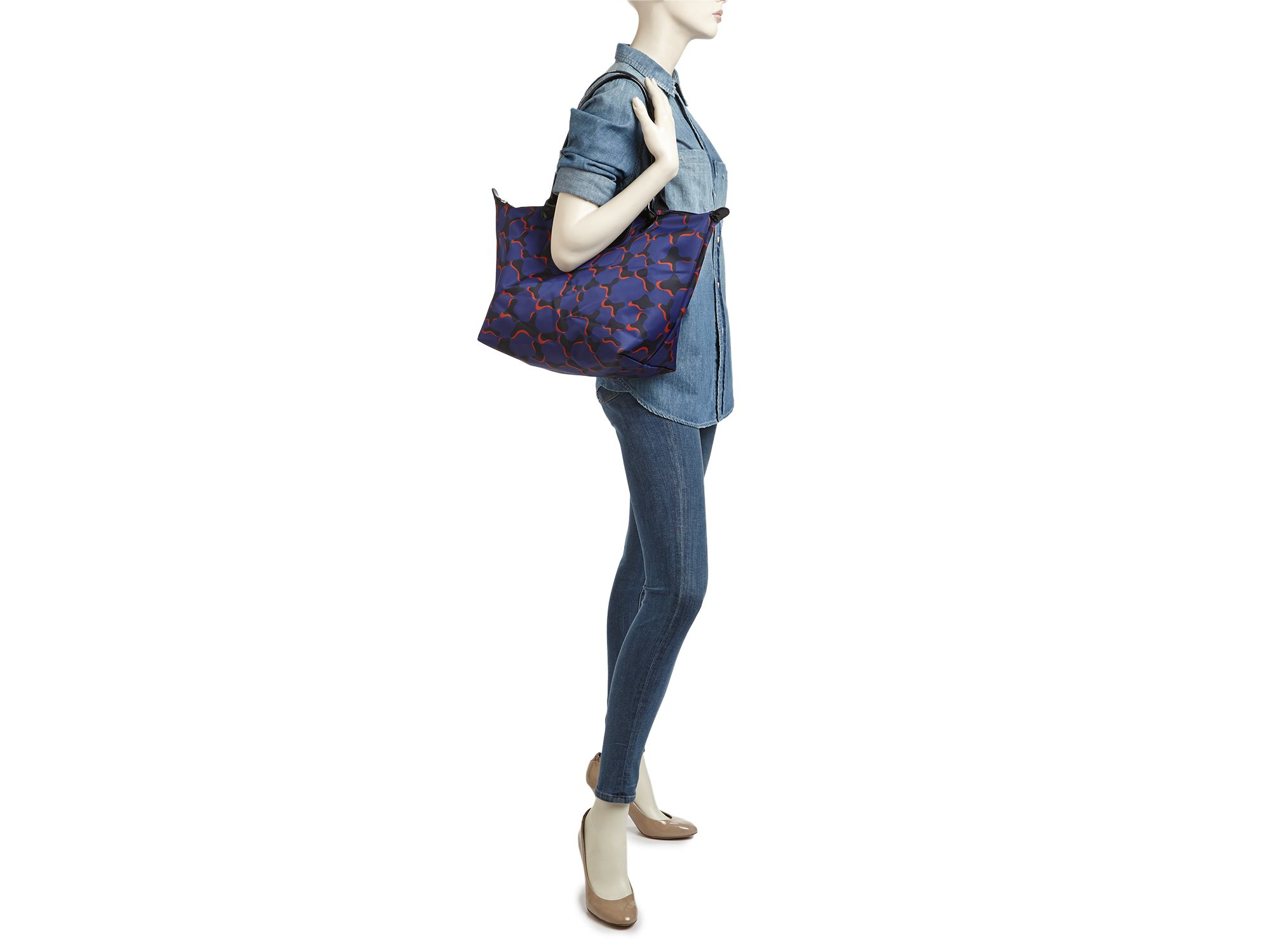Lyst Longchamp Le Pliage Neo Fantaisie Large Tote In Blue