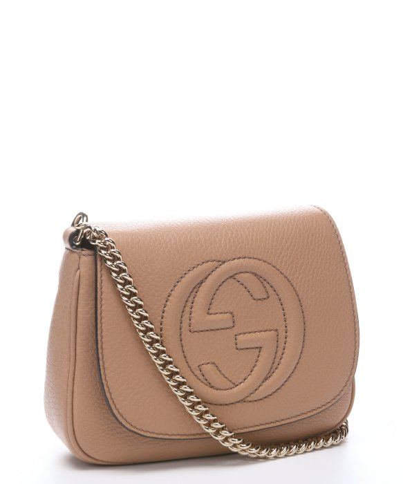 Gucci Camellia Leather 'Soho' Chain Shoulder Strap Bag in Brown | Lyst