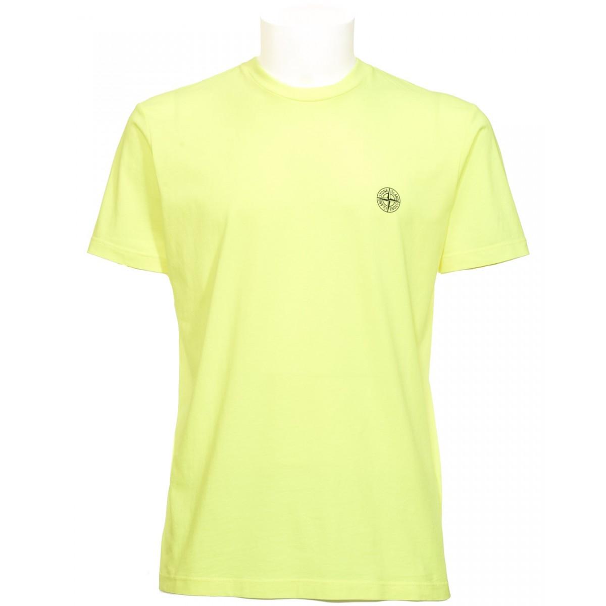 Stone Island Neon Yellow Printed T Shirt In Yellow Lyst