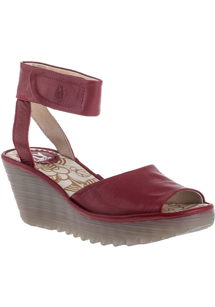 5dd1e28328e24 Fly London Yula Wedge Sandal Cherry Red Leather in Red - Lyst