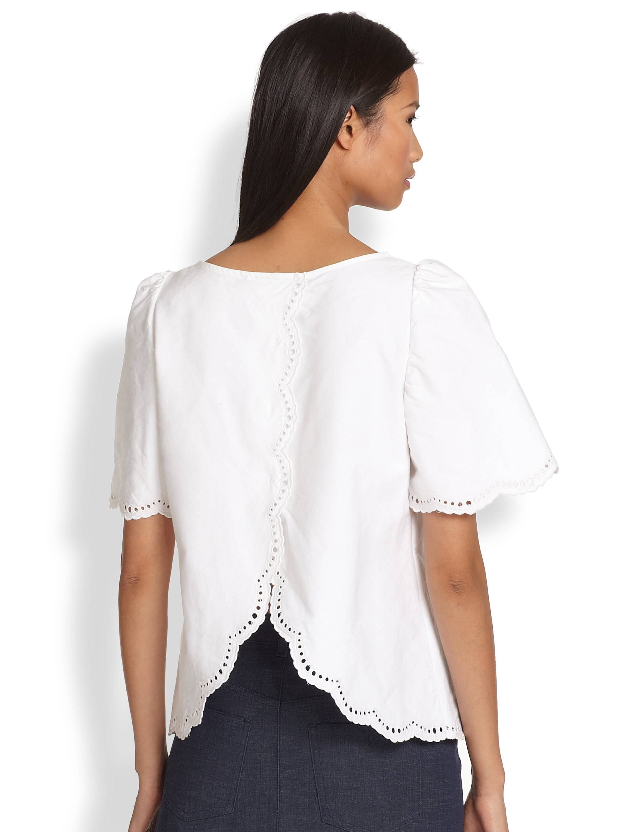 83b8cb1988354 A.P.C. Splitback Scalloped Eyelet Cotton Blouse in White - Lyst