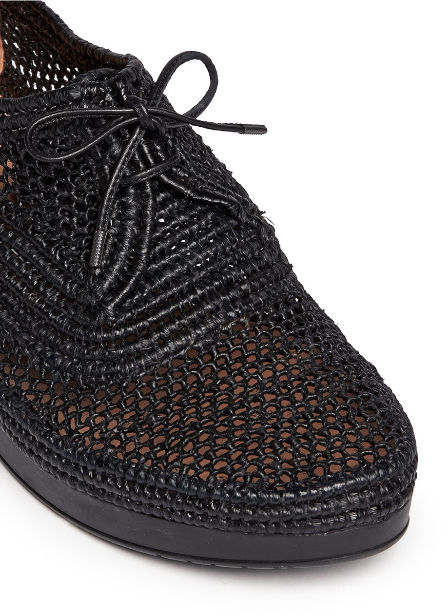 Lyst Robert Clergerie Vicolei Woven Raffia Wedge Lace