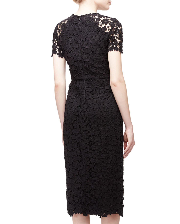 Shoshanna Short-sleeve Lace Midi Sheath Dress in Black