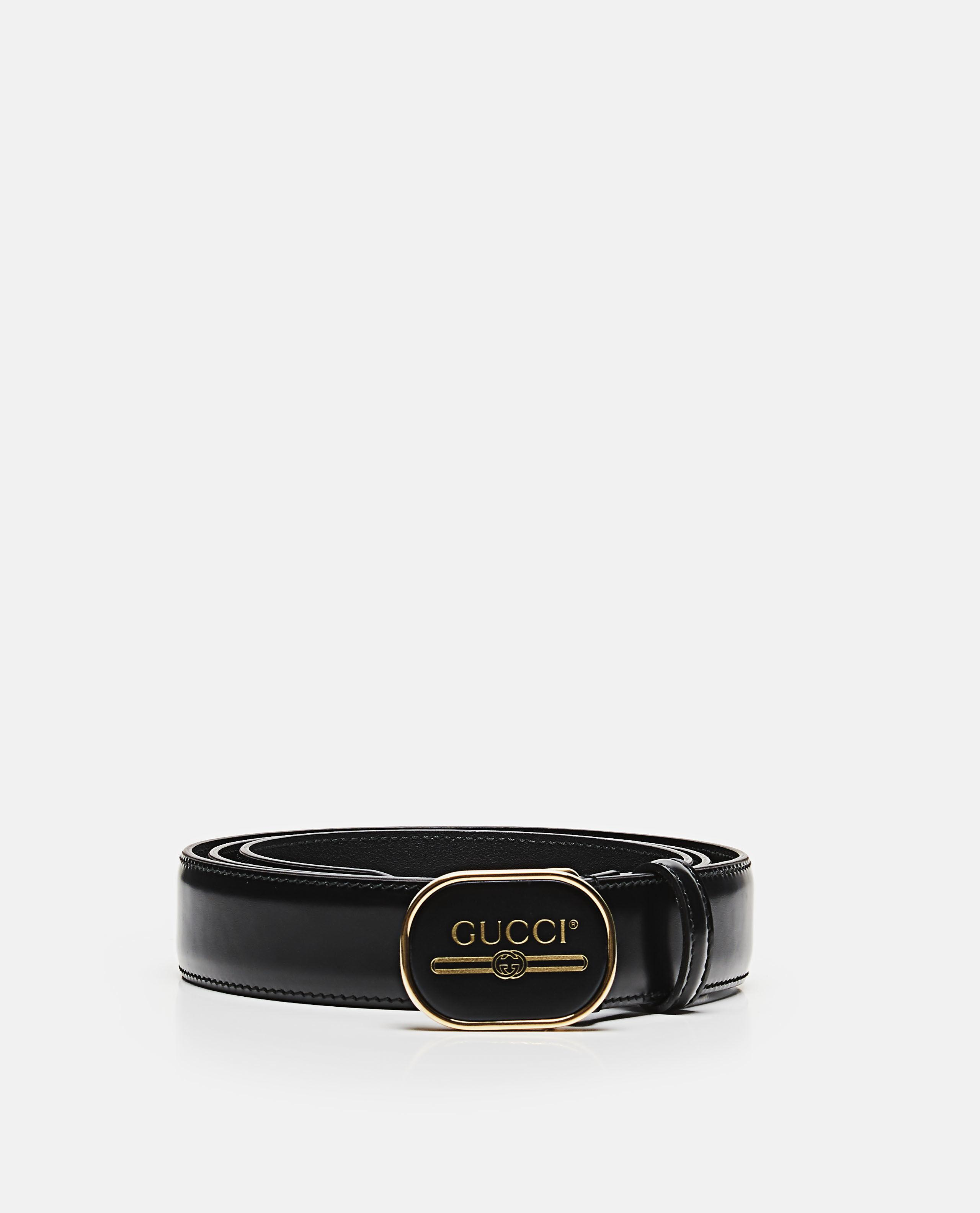 46932d6f38 Gucci - Black Leather Belt With Print Buckle for Men - Lyst. View fullscreen