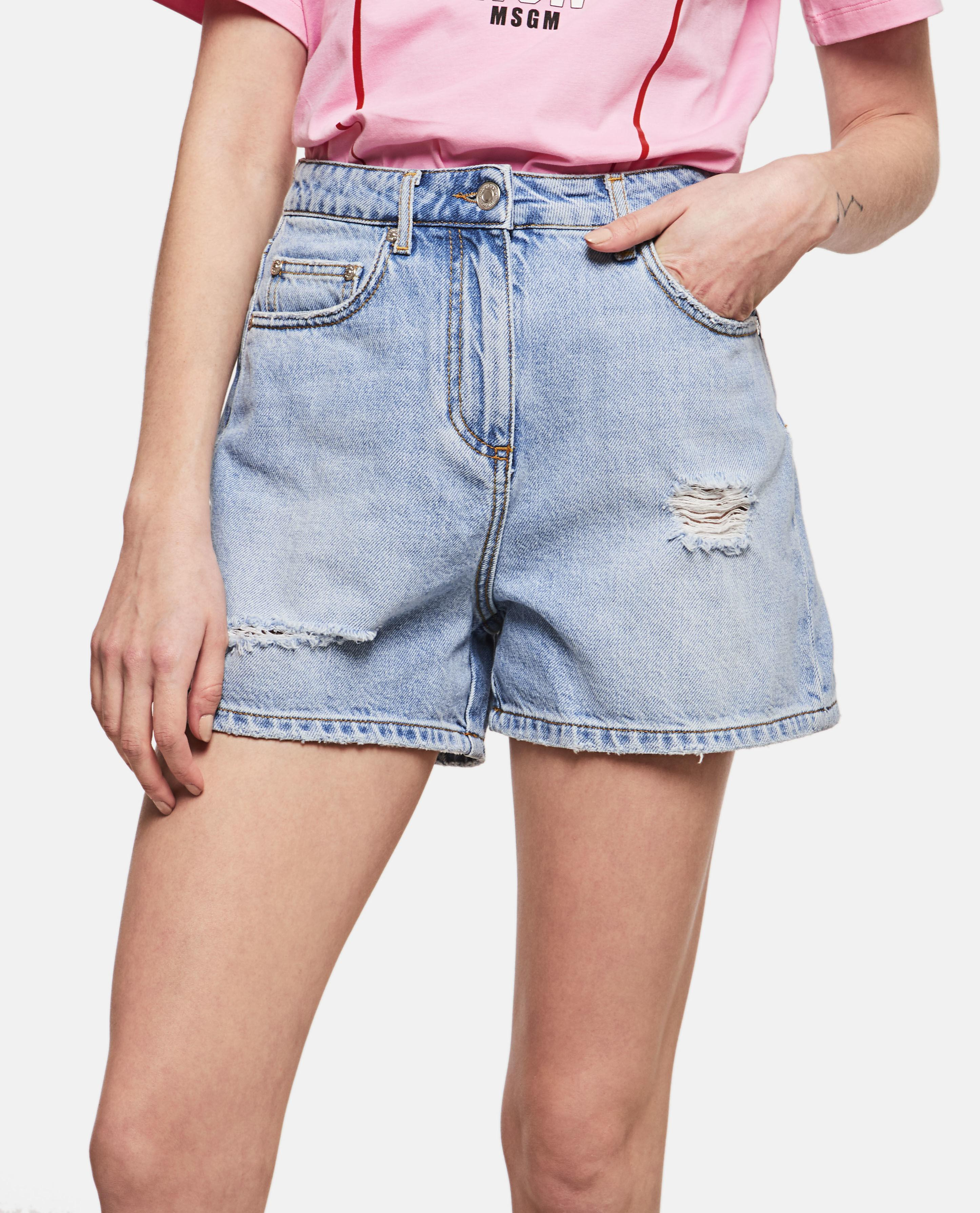 cb2c36c6fa MSGM - Blue Denim Short Shorts - Lyst. View fullscreen
