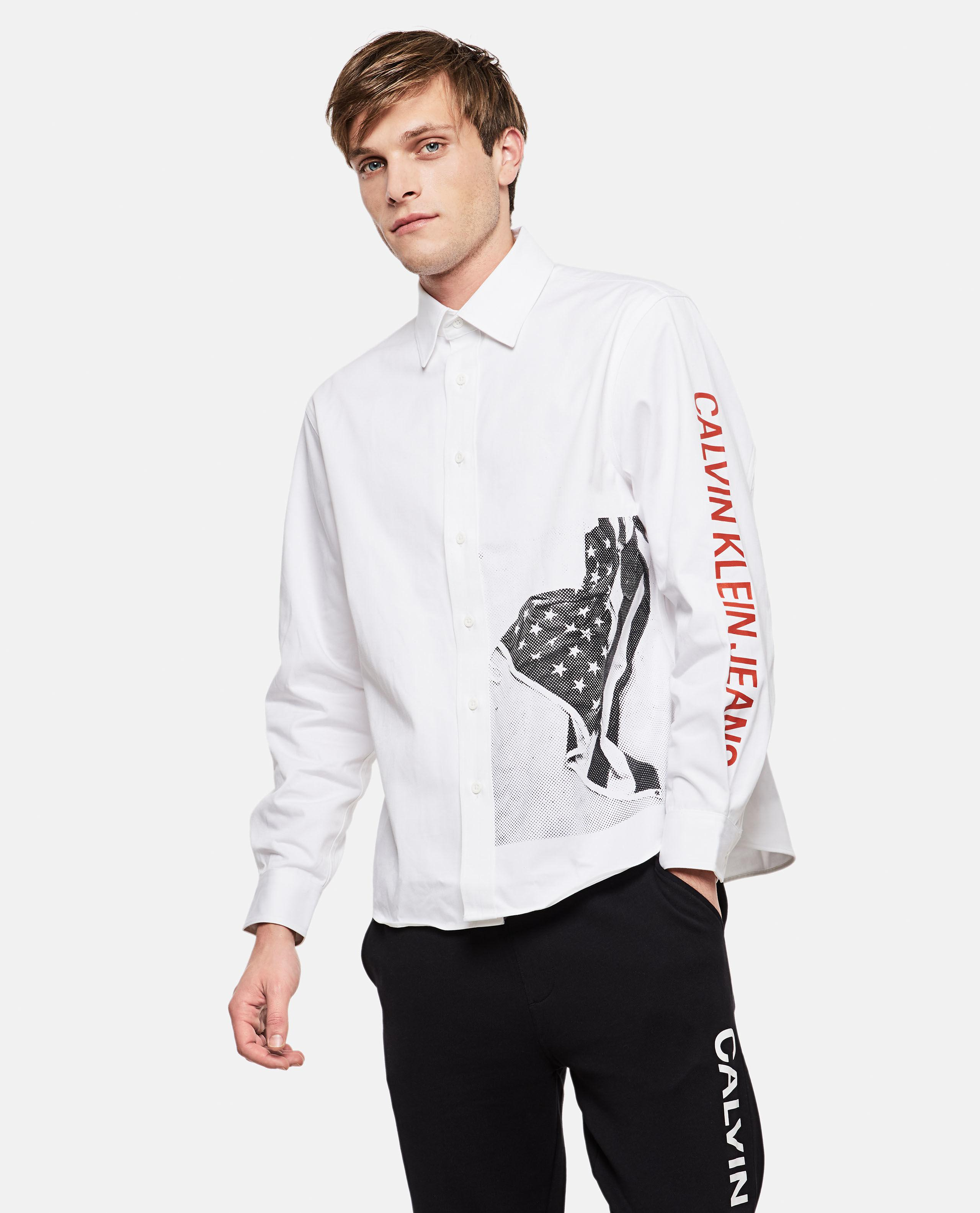 ea81fc8ad5ad3 Calvin Klein Relaxed Flag Print Shirt in White for Men - Lyst