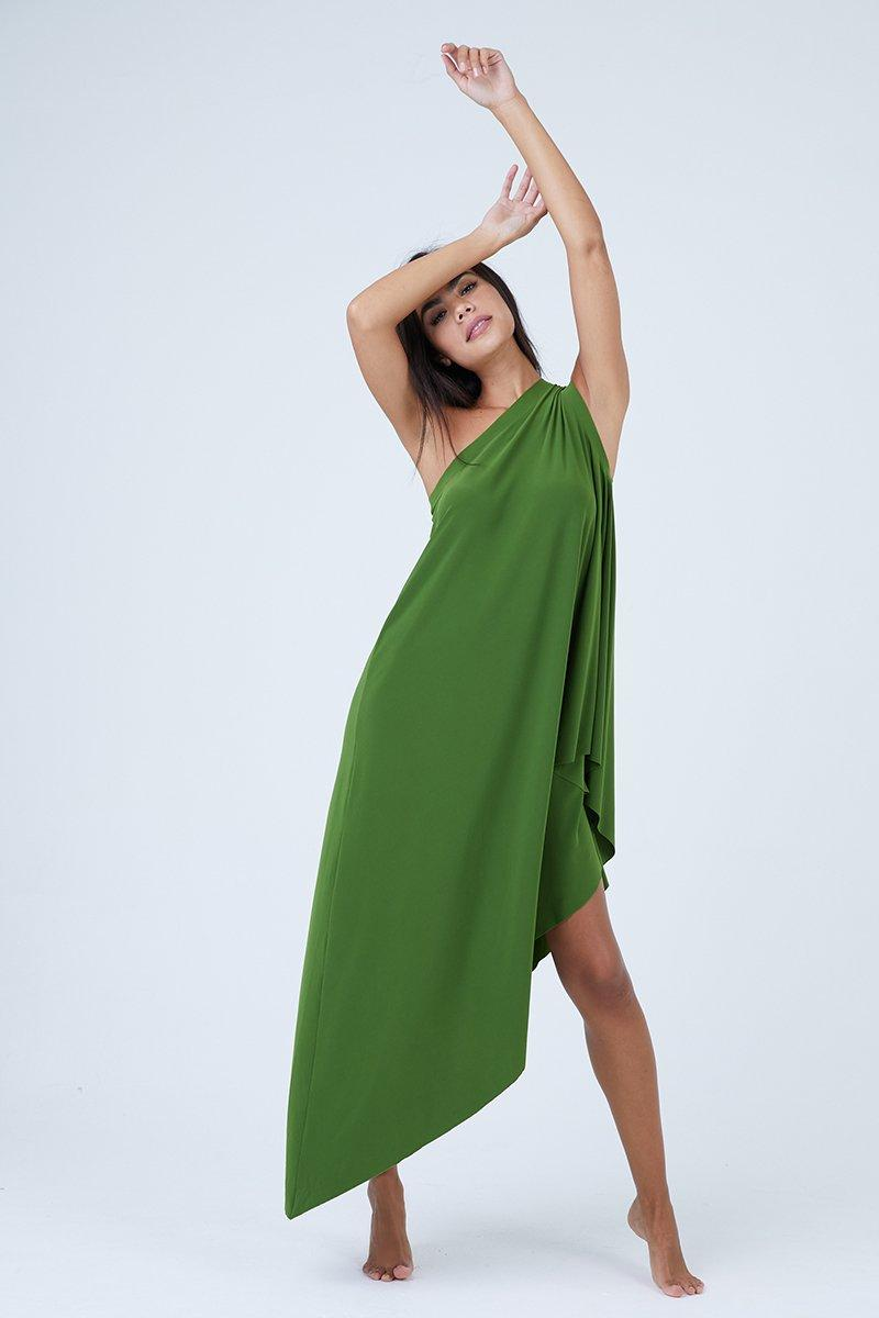 f7d0404754ad2 Lyst - Norma Kamali One Shoulder Diagonal Tunic - Olive Green in Green