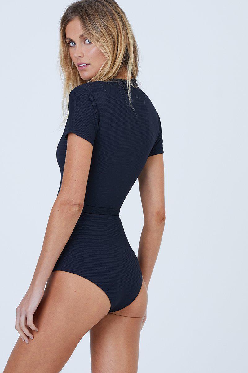 cf6fe3c6035 Aila Blue Pierce Short Sleeves One Piece Swimsuit - Black Waffle in ...