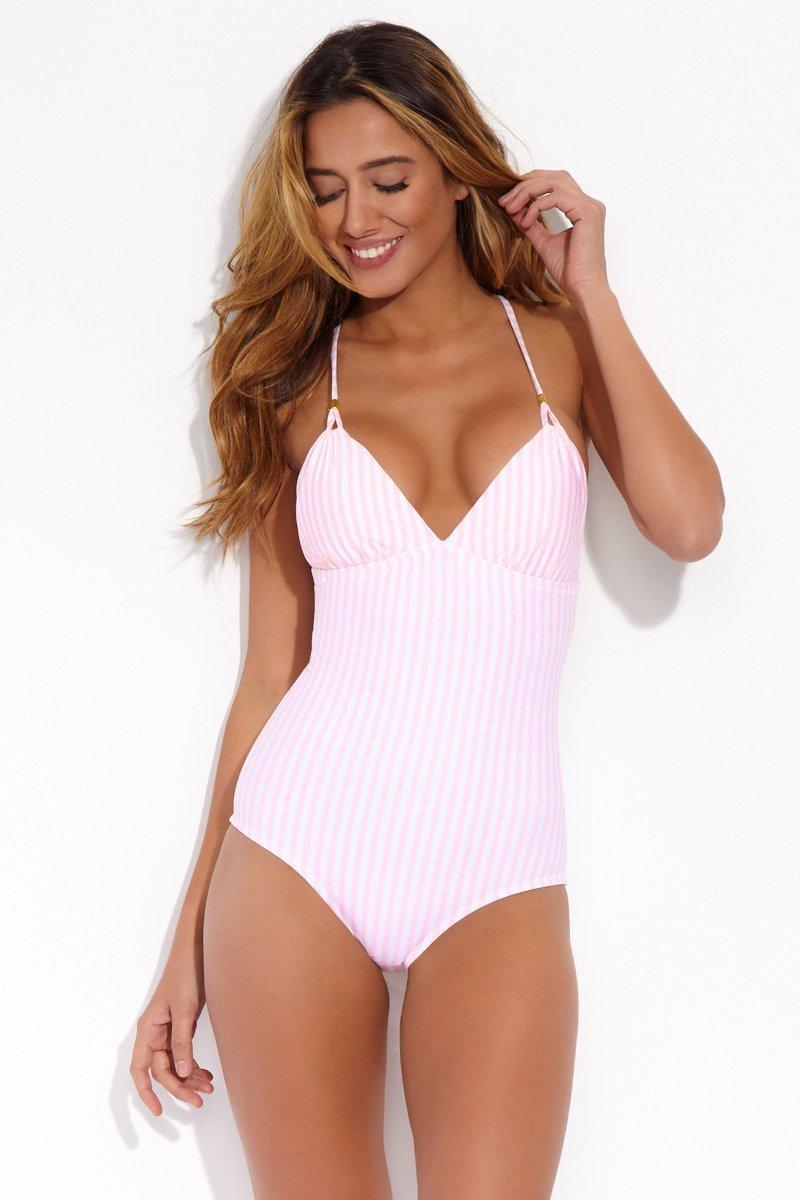 4003e39736255 Helen Jon Lattice Back One Piece Swimsuit - Pink/white Stripes in ...