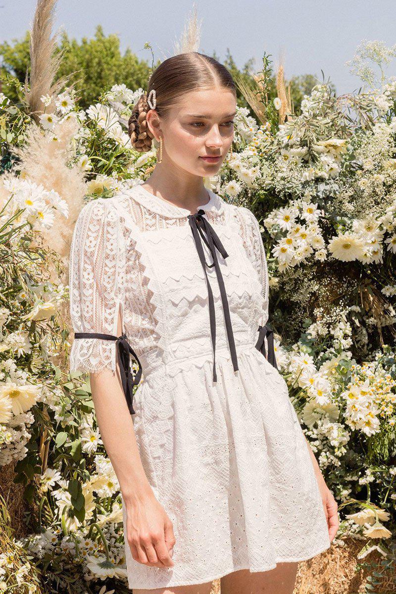 1ce86589299ea For Love & Lemons Charlotte Eyelet Overalls Mini Dress - White Heart ...
