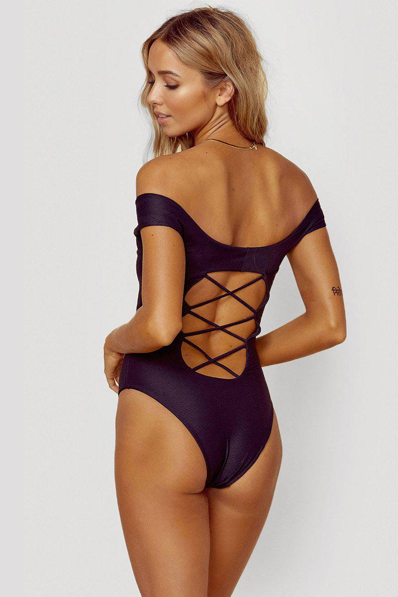 38bfe4aa2b2f33 ... Off Shoulder One Piece Swimsuit - Textured Black - Lyst. View fullscreen