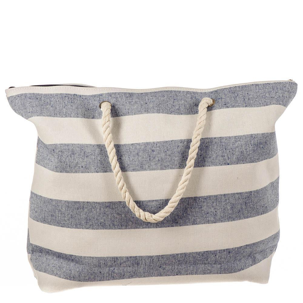 Denim and White Striped Beach Bag 9149t