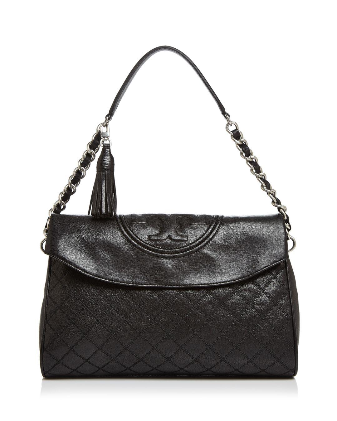 291bf2a491a1 Lyst - Tory Burch Fleming Medium Leather Hobo in Black