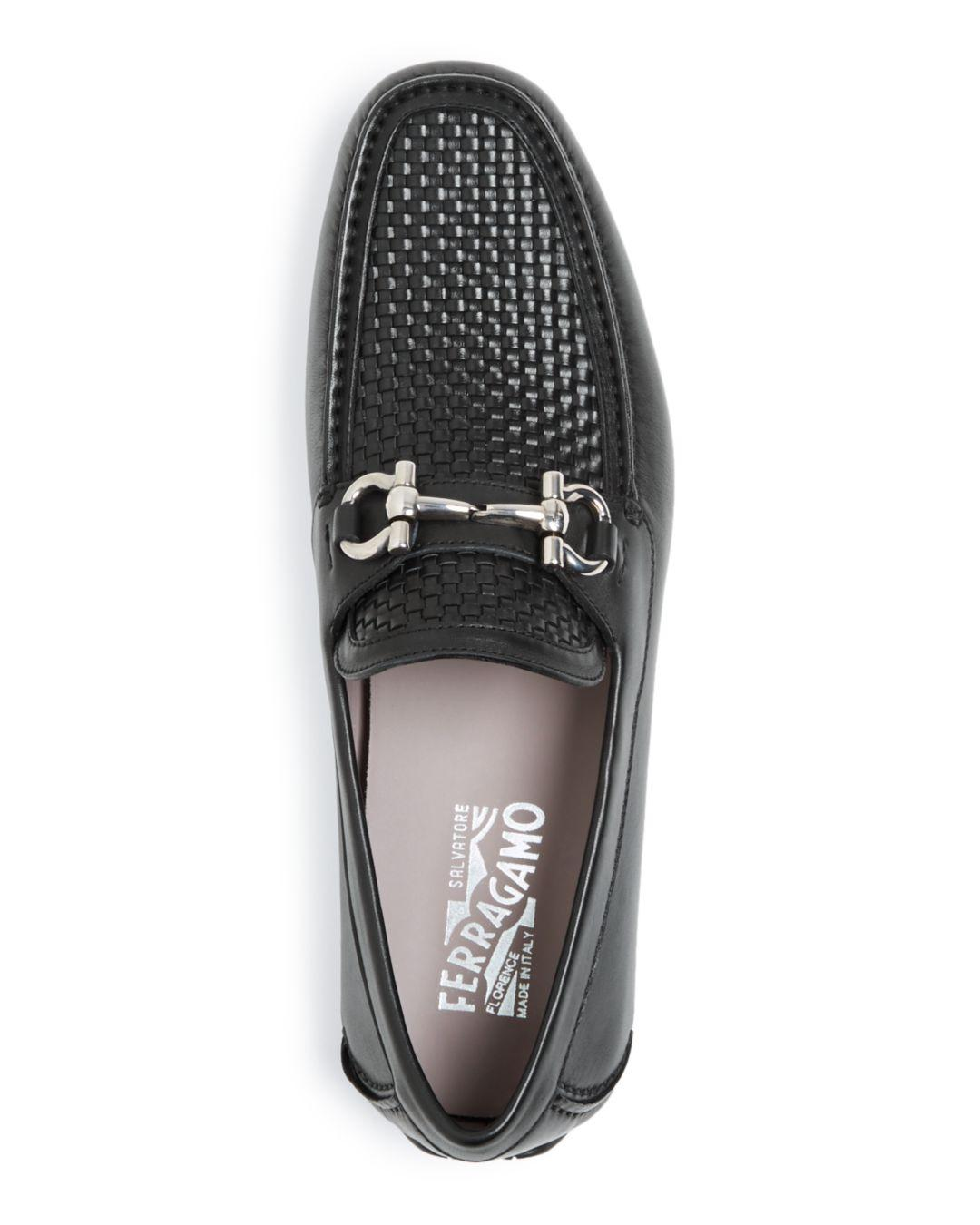 2ace593bd68 Lyst - Ferragamo Men s Parigi Woven Leather Drivers in Black for Men