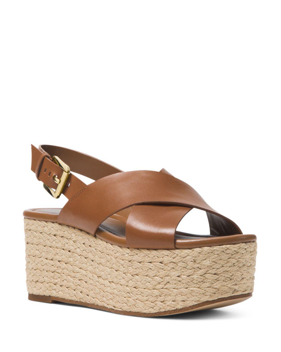 0b88343a585 MICHAEL Michael Kors Jodi Leather Platform Wedge Espadrille Sandals ...
