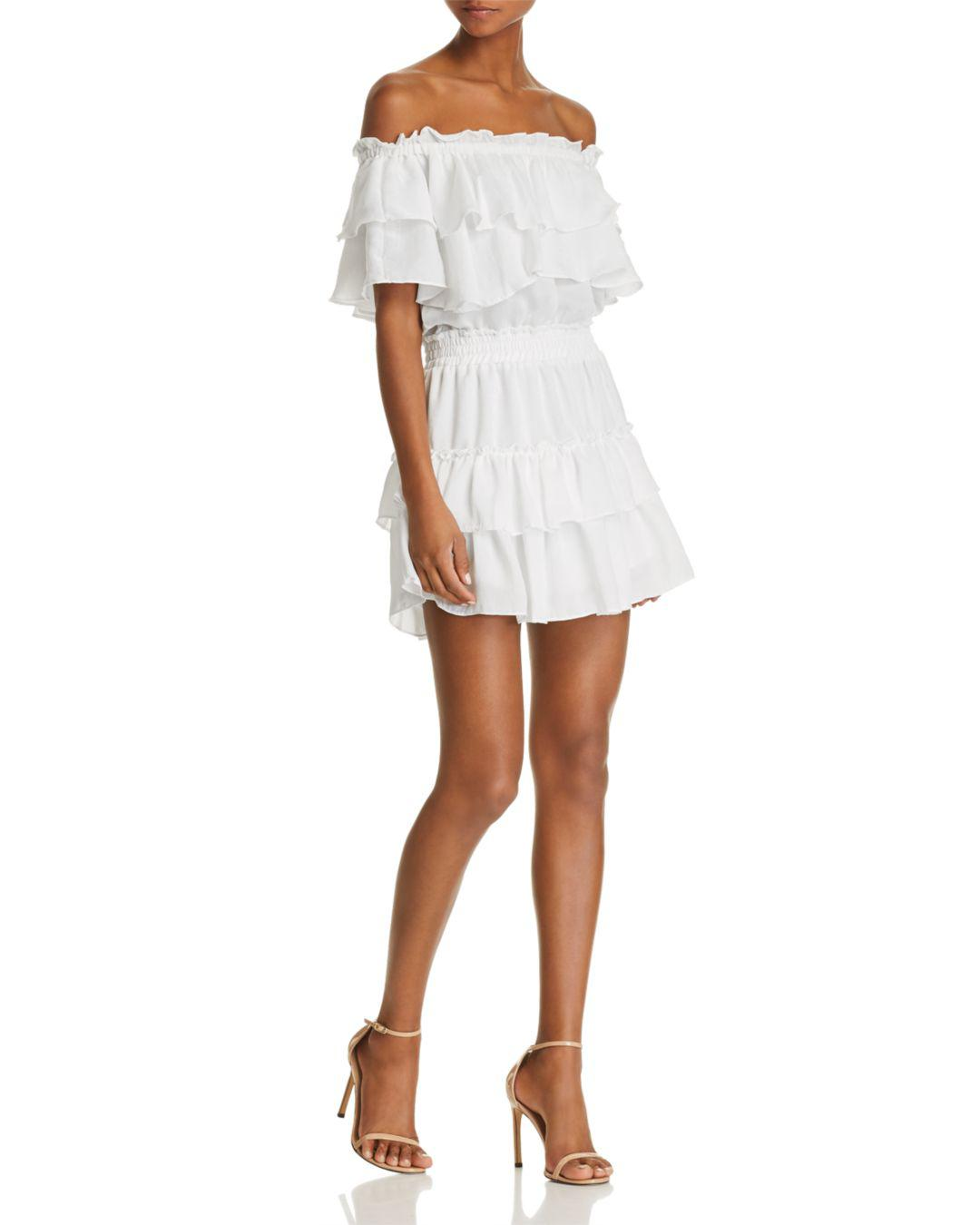 d2bf8cb6c2b6 MISA Giada Off-the-shoulder Tiered Ruffle Dress in White - Lyst