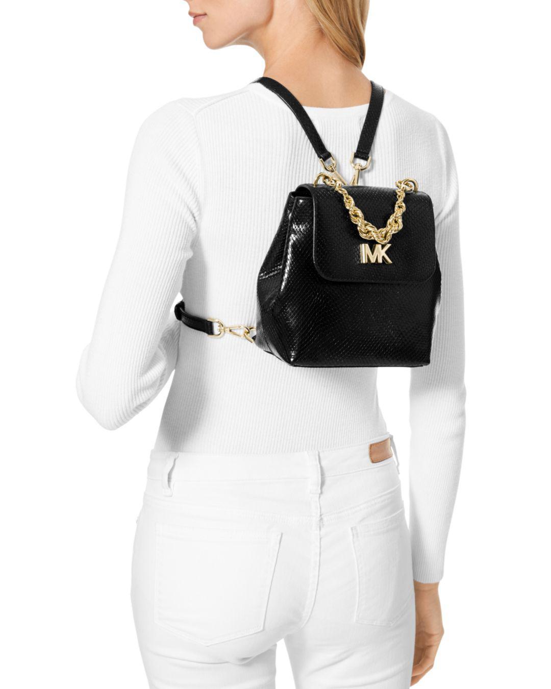 74145d14056707 MICHAEL Michael Kors Mott Mini Twist Chain Messenger Backpack in Black -  Save 3% - Lyst