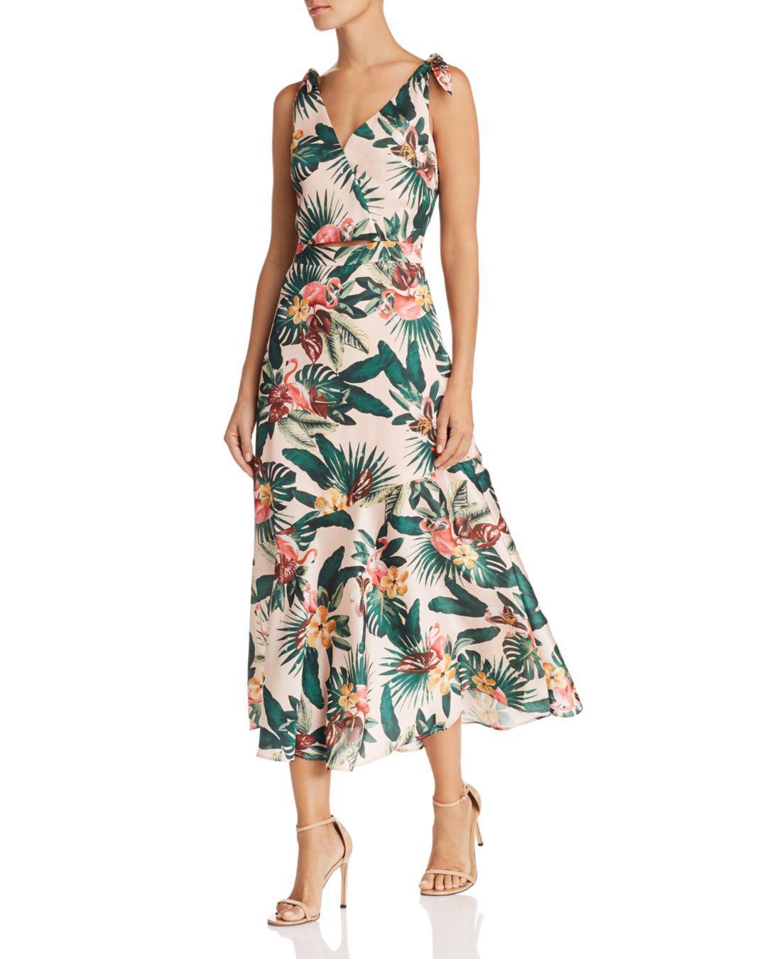 Sam Edelman Sleeveless Flamingo Print Dress In Green Lyst
