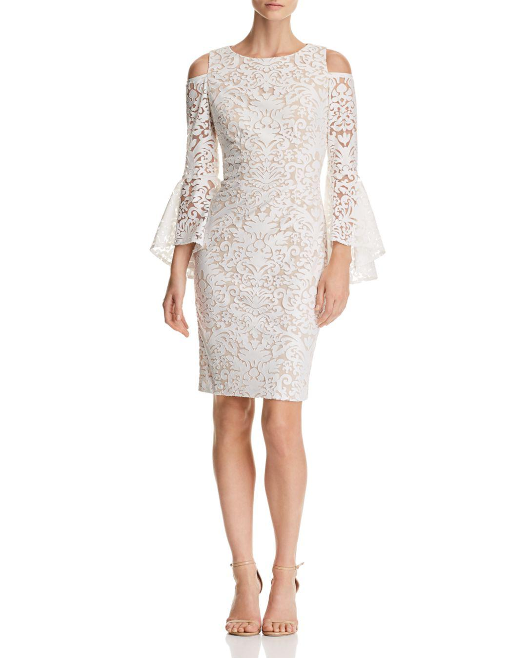 19baea69c442 Lyst - Aqua Cold-shoulder Lace Dress in White