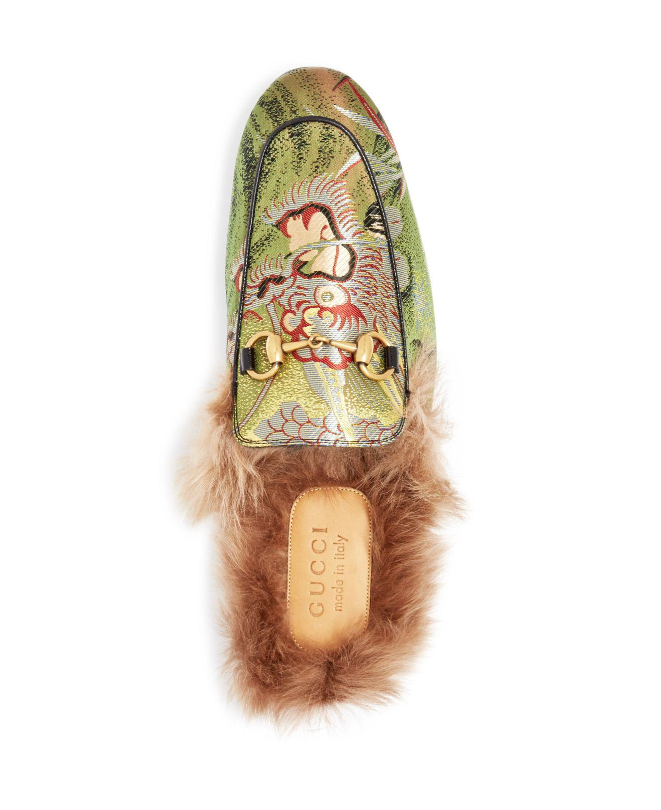 0343c01b6eb Lyst - Gucci Men s Princetown Tiger Jacquard And Lamb Fur Slippers ...