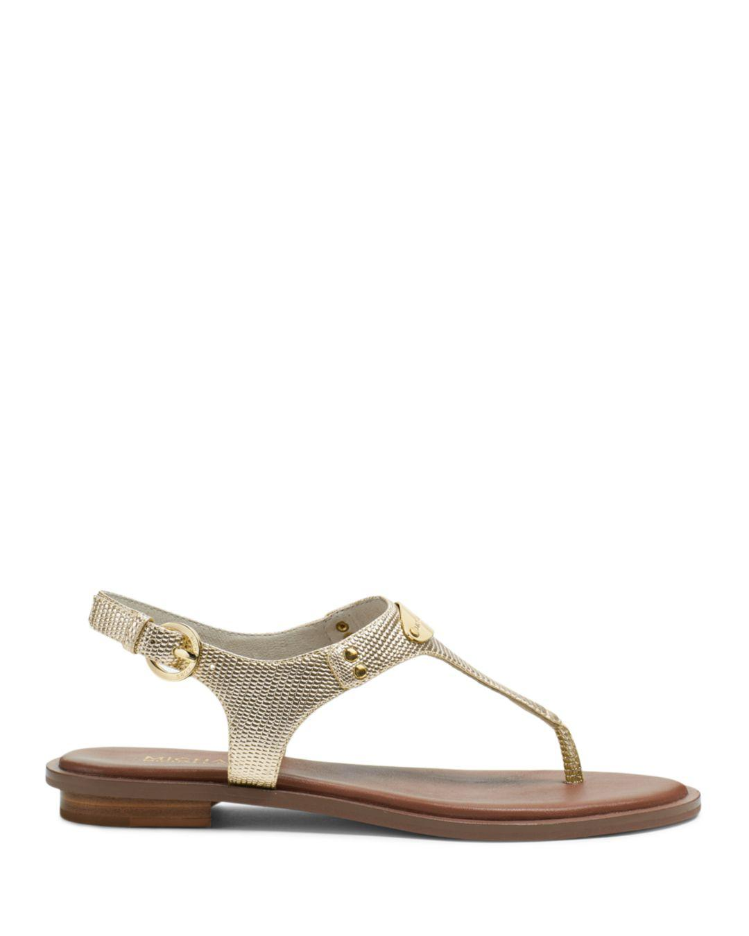 8b9dd59f2cb0 Lyst - MICHAEL Michael Kors Mk Plate Thong Sandals