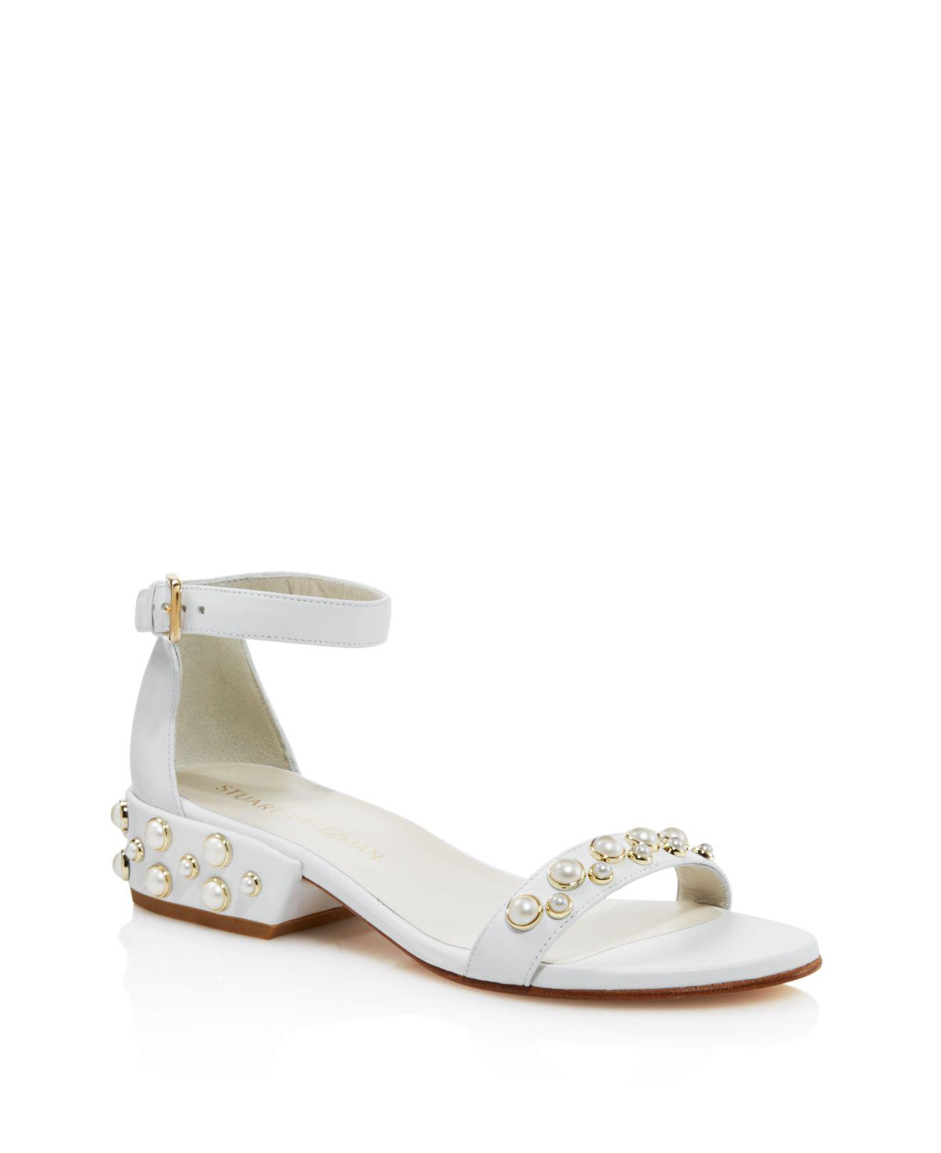 577488514f42 Lyst - Stuart Weitzman Allpearls Leather Pearl Stud Ankle Strap ...