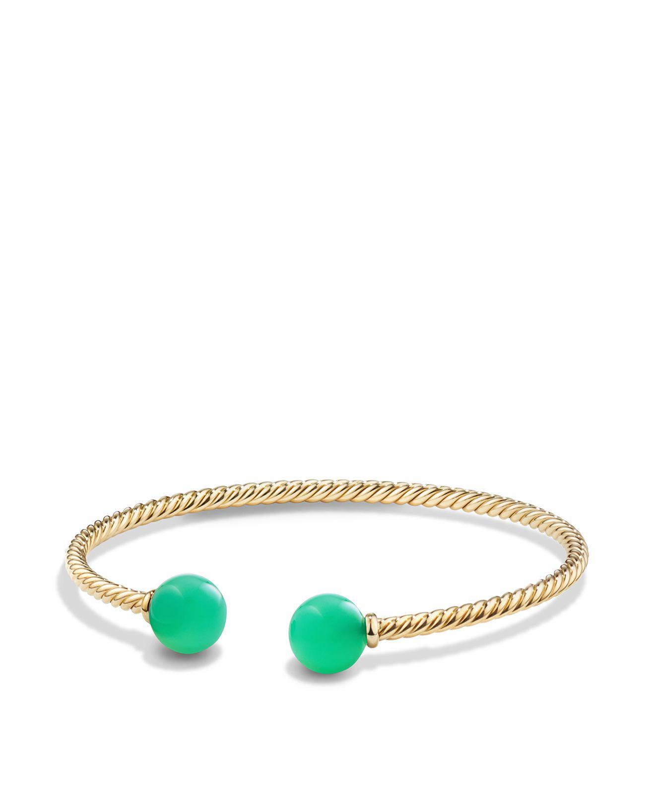 David Yurman 18kt yellow gold Solari chrysoprase bead cuff bracelet - Green s0qO9PVF7
