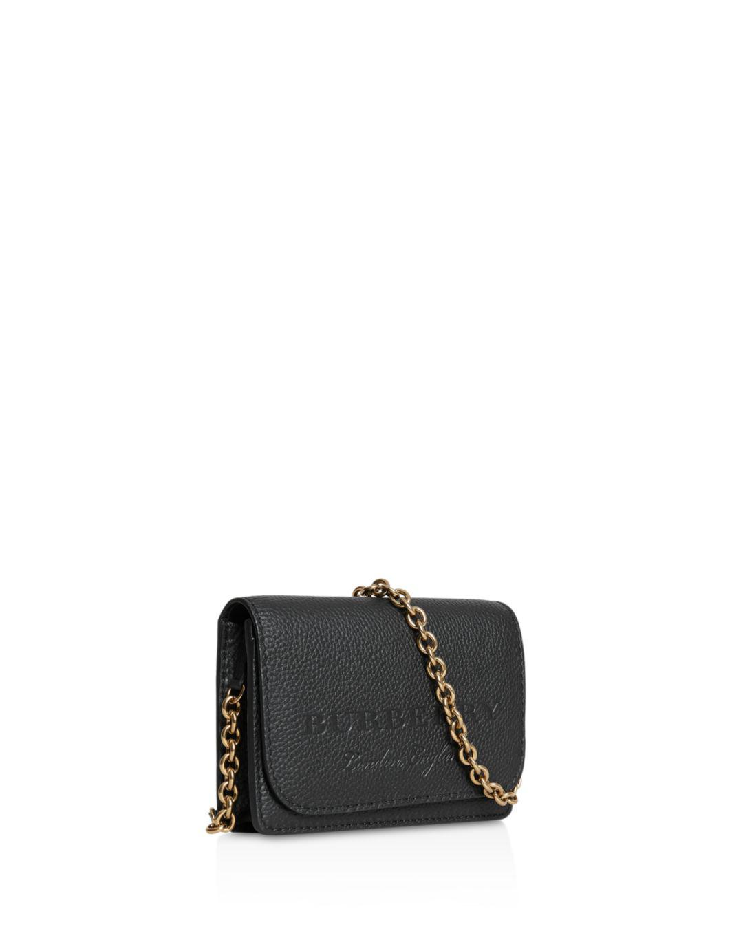 8b08abe2278c Lyst - Burberry Hampshire Embossed Leather Crossbody in Black