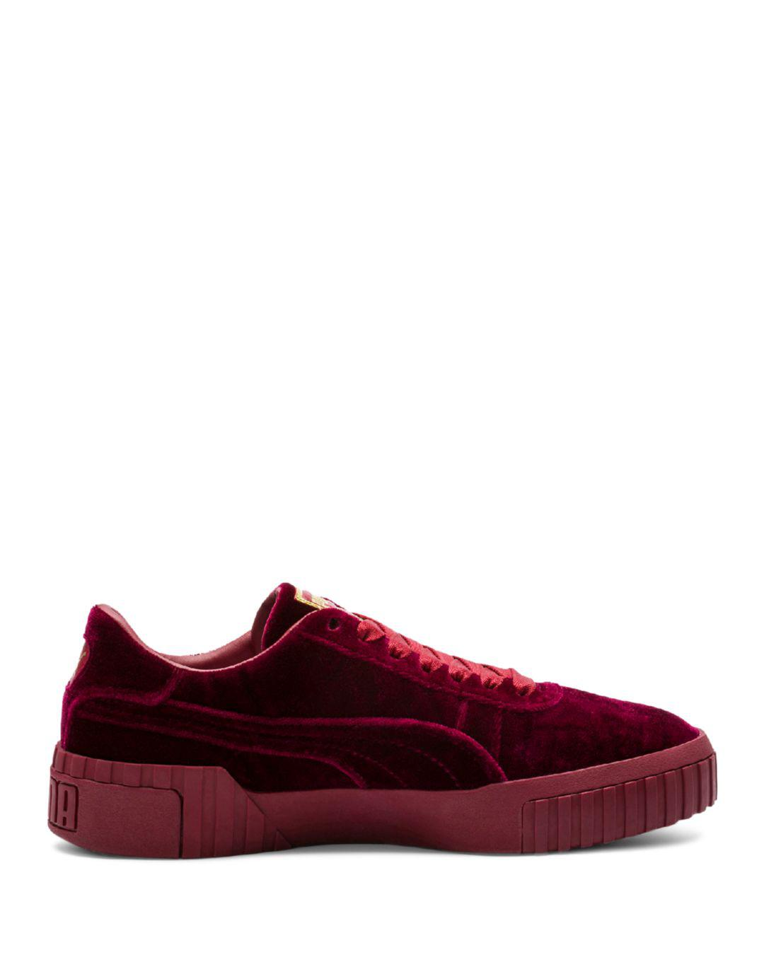 d5a3b830c33 Lyst - PUMA Women s Cali Velvet Low-top Sneakers in Red