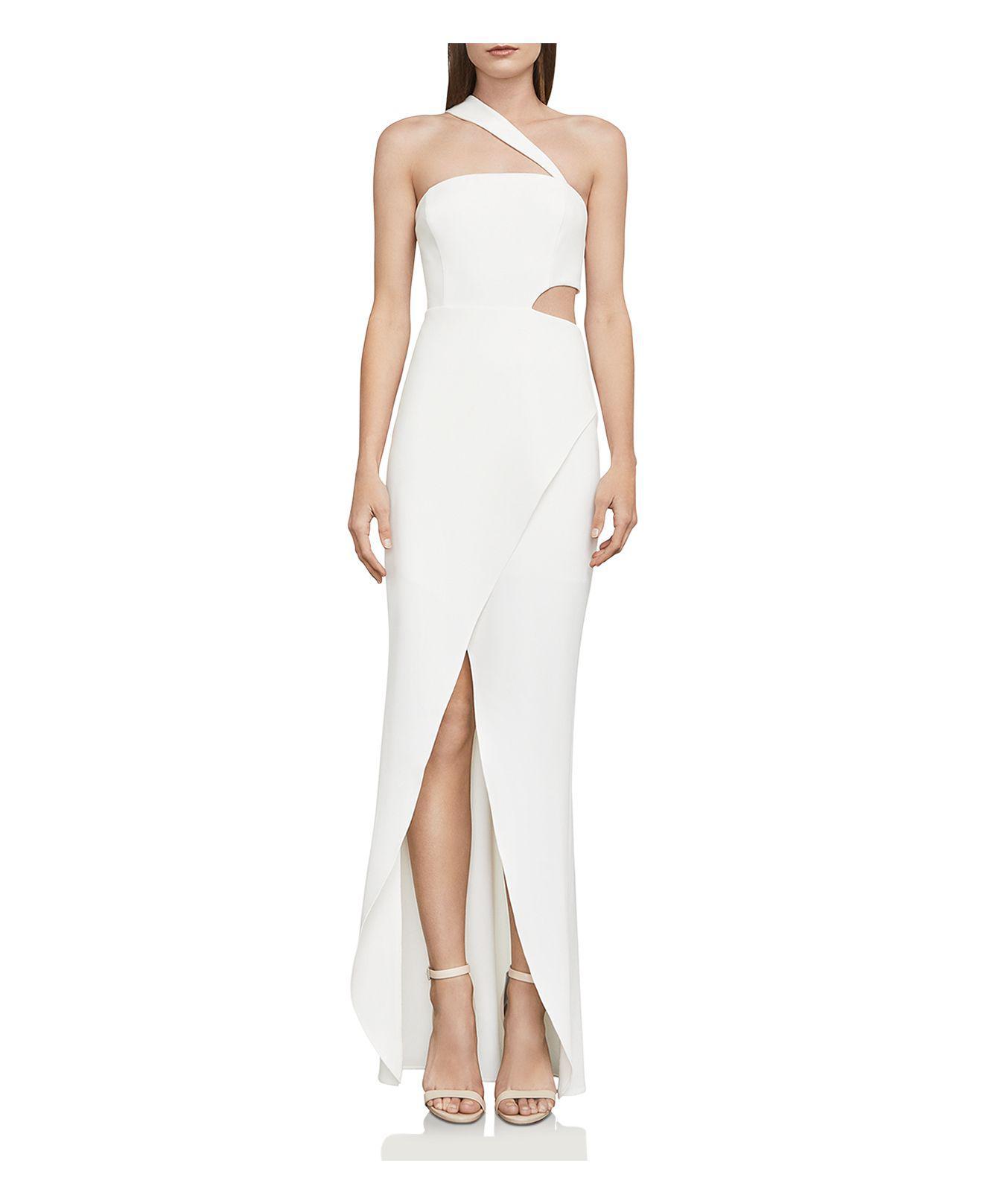 Lyst - Bcbgmaxazria One-shoulder Cutout Gown in White