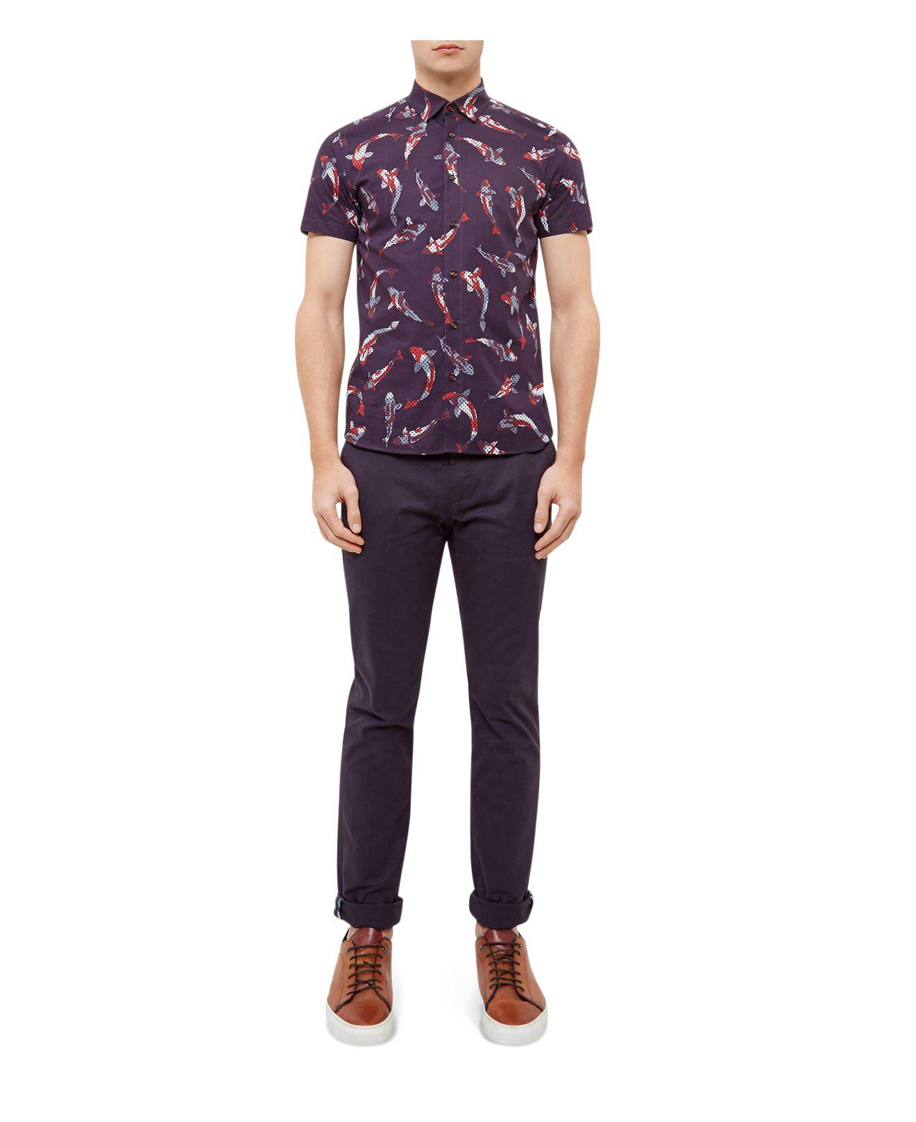 6fed4483 Ted Baker Bigpois Oversized Fish Print Regular Fit Button-down Shirt ...