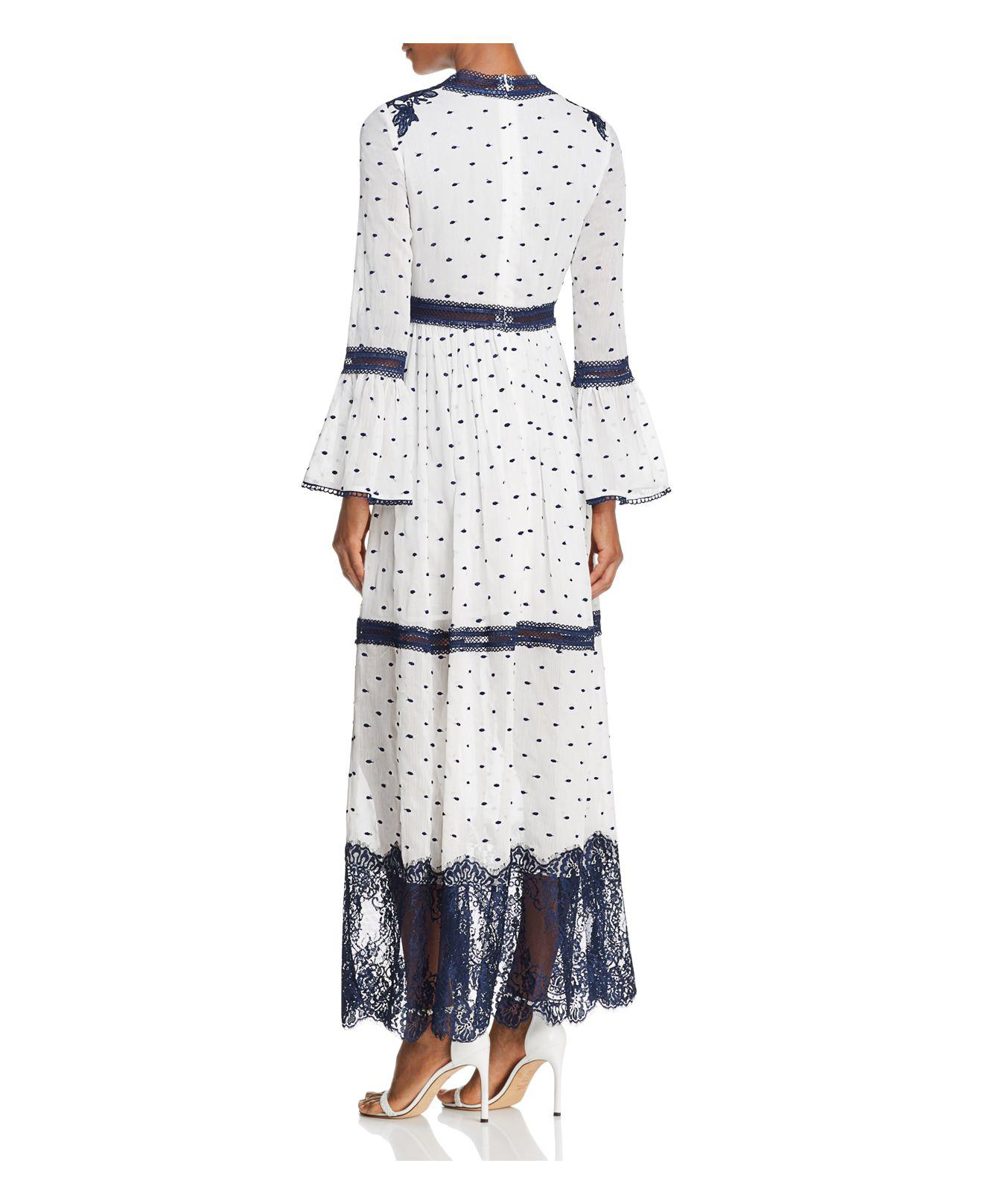 724991f939f8 Lyst - Aqua Embroidered Bell Sleeve Maxi Dress in White