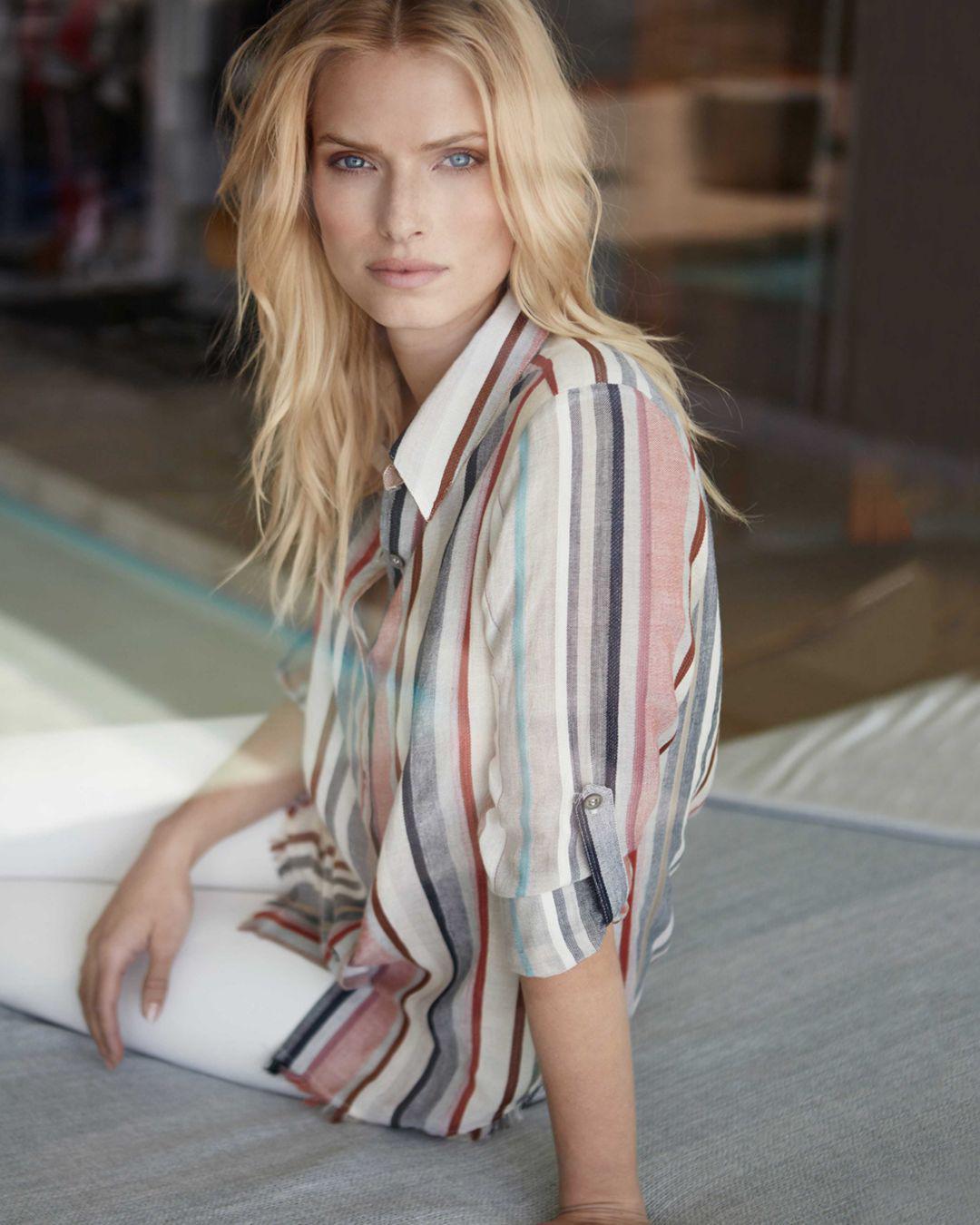 8951d72a Lyst - Karen Kane Stripe Fringe Button-down Tunic - Save 6%